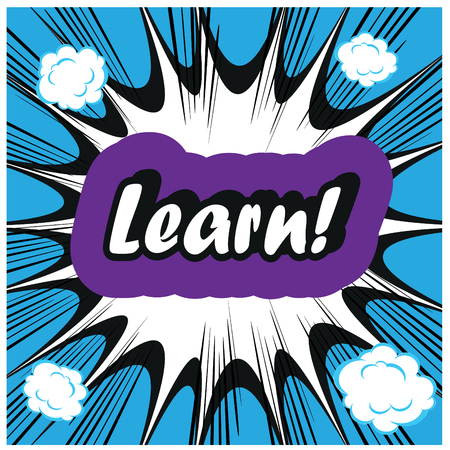 vocational training: Learn background Learning Concept boom stamp template