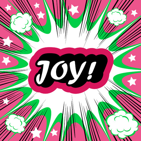 joyousness: Retro background Design Template boom with word JOY Comic book background