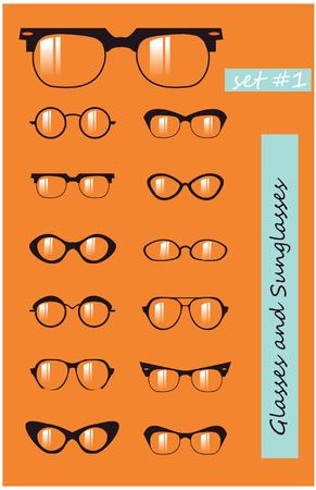 Glasses and Sunglasses silhouettes set Stock Photo