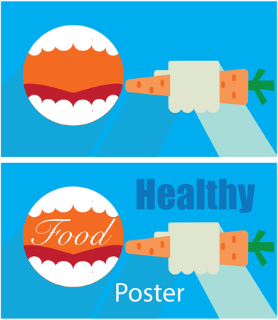 open mouth: healthy food poster - open mouth and hand with carrots background