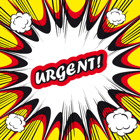 Comic book background Urgent! sign Card Pop Art office stamp with the word urgent Foto de archivo