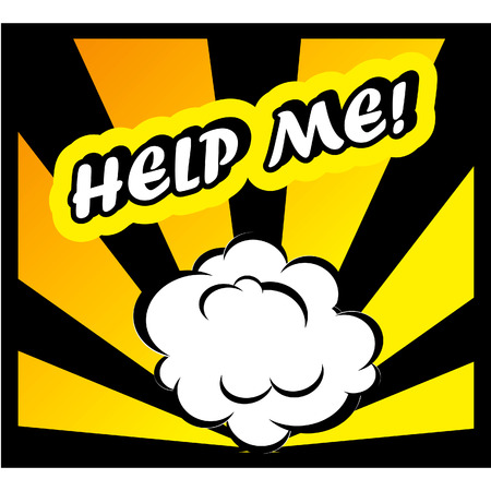 help me: Comic book background Help Me! sign Card Pop Art office stamp with the word Help Me