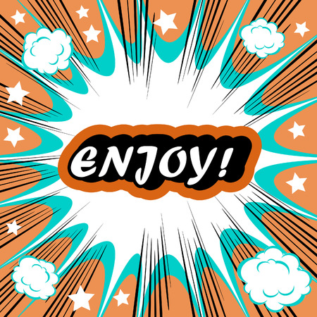 joyousness: Retro background Design Template boom with word ENJOY Comic book background Stock Photo