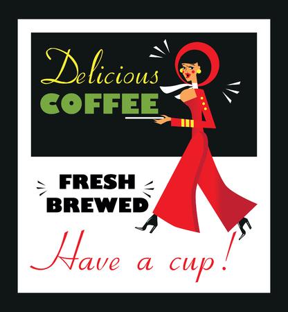 woman drinking milk: Vintage Food & Drink Poster Print Coffee Vintage sign - Fresh Brewed Coffee clean sign