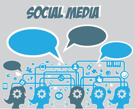 discourse: Social media with speech bubble vector illustration