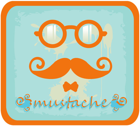 hipster mustache: Vector hipster mustache and eyeglasses Stock Photo