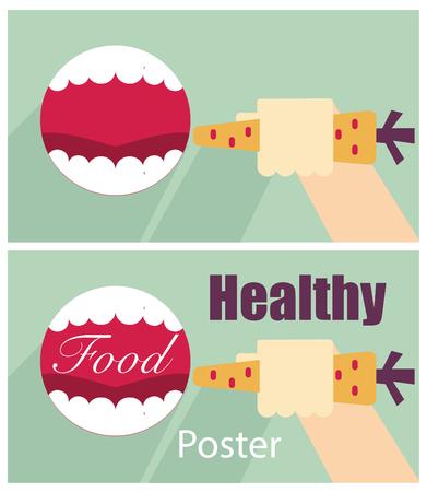 boca abierta: sana cartel de los alimentos - la boca abierta y la mano de fondo con las zanahorias Foto de archivo