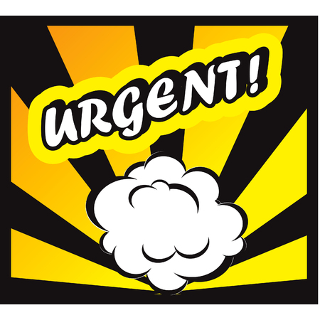 promptness: Comic book background Urgent! sign Card Pop Art office stamp with the word urgent Stock Photo