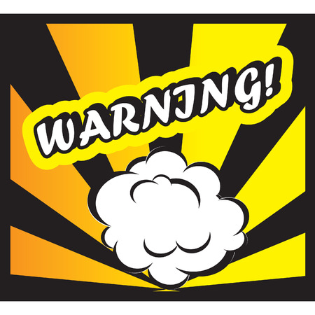 discretion: Comic book background Warning! sign Card Pop Art