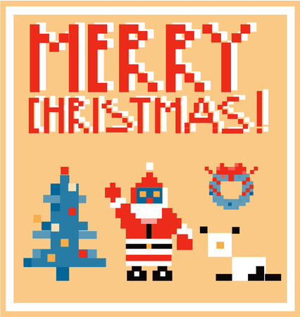 x mas: Pixel Holidays People card theme in pixel art style, vector illustration