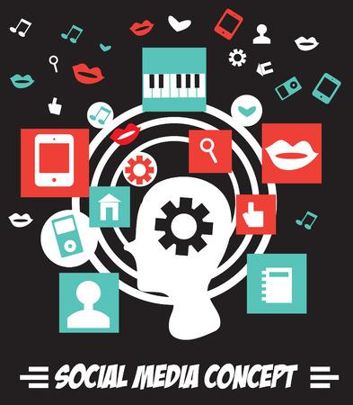 microblogging: Social media concept with man profiles vector illustration Stock Photo