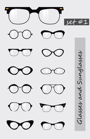 looking through an object: Glasses and Sunglasses silhouettes set Stock Photo