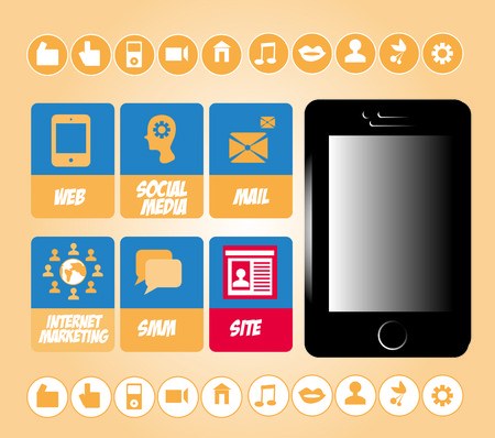 smm: SMM social marketing signs vector set with internet icons and mobile phone