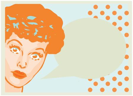 homemaker: Vintage Retro Clip Art Woman Advertisement Pop Art Girl Talking with open eyes card or retro background