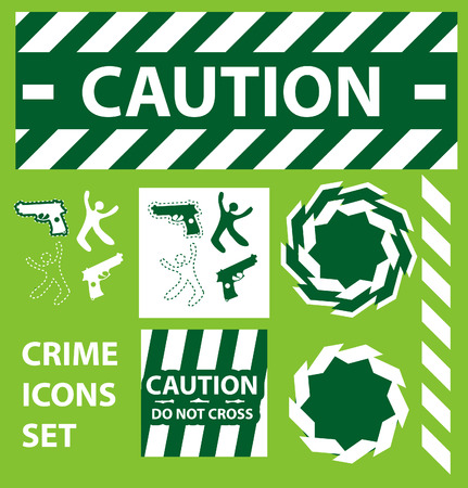 csi: Silhouette icons set Caution, danger, and police crime concept design elements