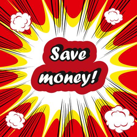 bomb price: Save money! concept retro closeup words on retro boom background Stock Photo