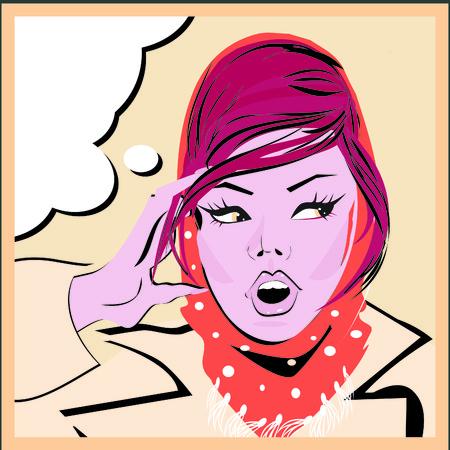 ben day dot: Pop art woman background