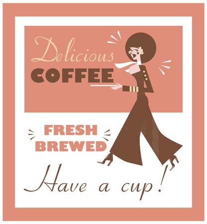 brewed: Vintage Food & Drink Poster Print Coffee Vintage sign - Fresh Brewed Coffee clean sign