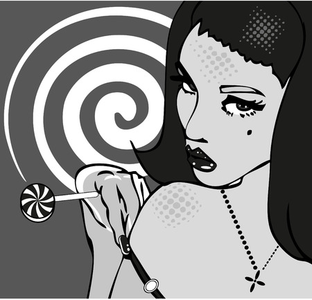 sexy lollipop: Sexy Girl with lollipop on retro Background.Hot popart comics Stock Photo