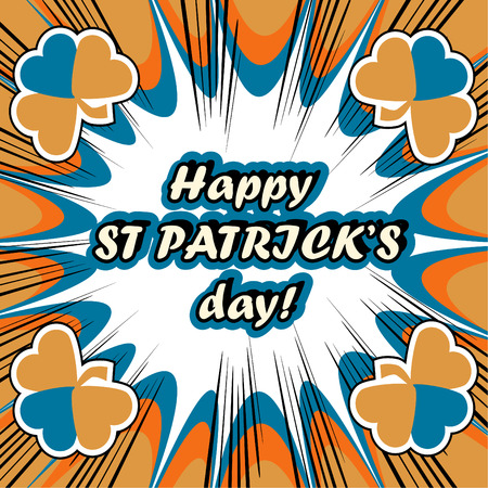 17th of march: happy St. Patricks Day Greeting Card boom retro background