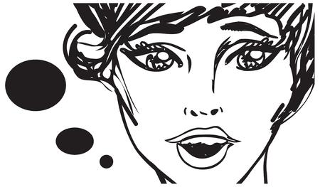 lass: Retro beauty woman speaking talking  - vintage art Illustration