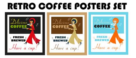 woman drinking milk: Vintage Food Drink Poster Print Coffee Vintage sign - Fresh Brewed Coffee clean sign