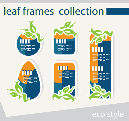 eco notice: vector leaf frames,collection of labels and stickers Stock Photo