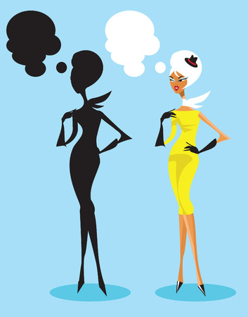 chic woman: Glamour girl fashion chic woman rich lady pretty blonde woman standing and talking with silhouette