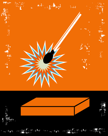 Danger Orange and Black Lit Match Poster with box and text place Stock Photo