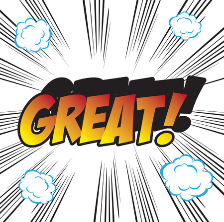 promptness: pop art background office stamp with the word GREAT Stock Photo