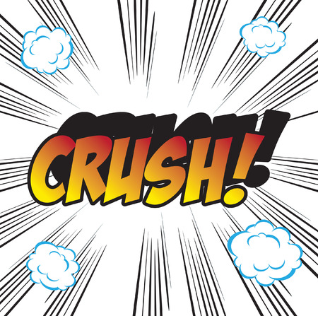 promptness: pop art background office stamp with the word CRUSH Stock Photo