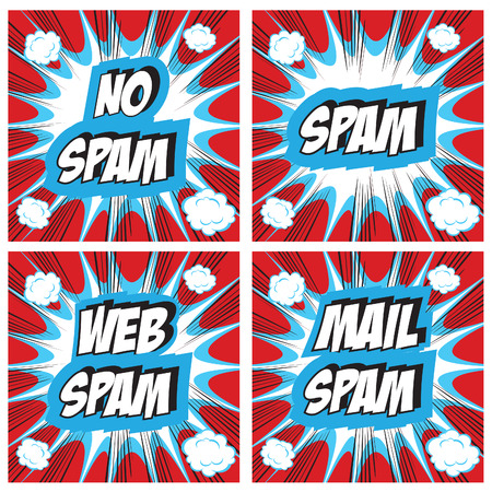 spammer: No Spam, spam, web spam, email spam - Spam concept backgrounds Pop art comic style set