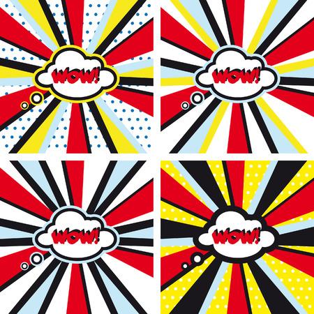 wow: Comic vector backgrounds set WOW Pop Art Stock Photo