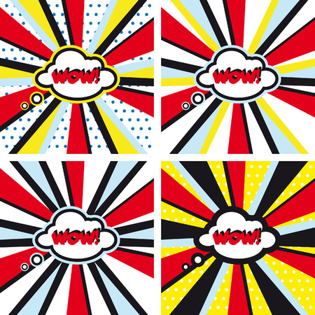 wow: fondos de vector Conjunto c�mico WOW Pop Art