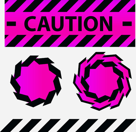 hazard stripes: Caution or danger and police tape attention with lables stickers and design elements set