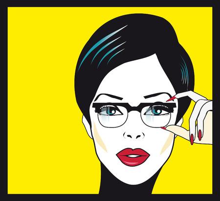 arte optico: Gafas de diseño mujer retrato primer plano. Mujer que desgasta el marco de los vidrios que llevan a cabo en primer plano. Hermosa mestiza de raza caucásica mujer china asiática joven en el fondo. Foto de archivo