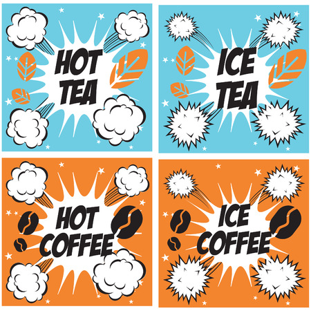 Hot coffee cold coffee, hot tea cold tea , set of comics popart drinks backgrounds