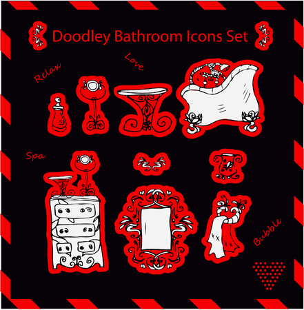 showering: bathroom icons set doodley stickers template