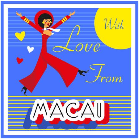 macau: Vintage Touristic Greeting Card - China , Macau ,Vector sign poster emblem