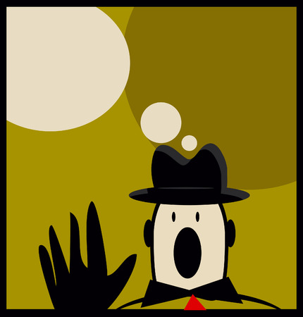 text space: Retro man in hat cry Business man poster with text space simple background