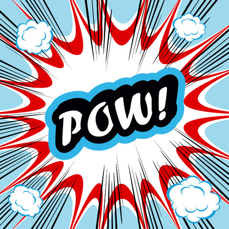 conceptual cute: Comic book background POW! concept or conceptual cute POW text on pop art background for your designs or presentations Stock Photo