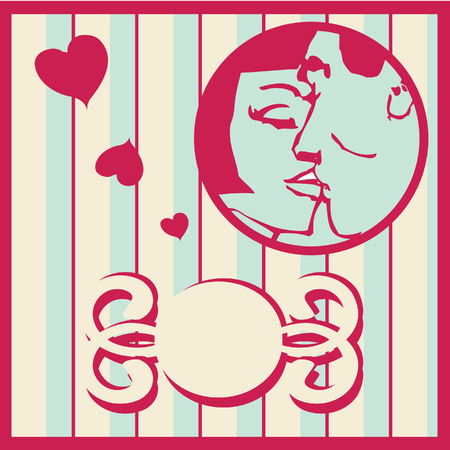 kissing lips: Vintage Retro man and woman kissing card background with design elements and page decoration