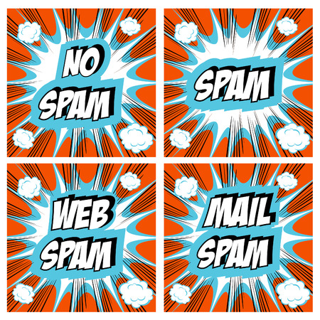 unwanted: No Spam, spam, web spam, email spam - Spam concept backgrounds Pop art comic style set