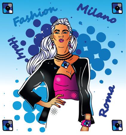 fashion week: fashion woman illustration italy style roma milano glamour life