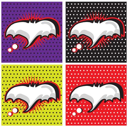 monologue: Bat Halloween Speech Bubble in Pop-Art Style backgrounds set