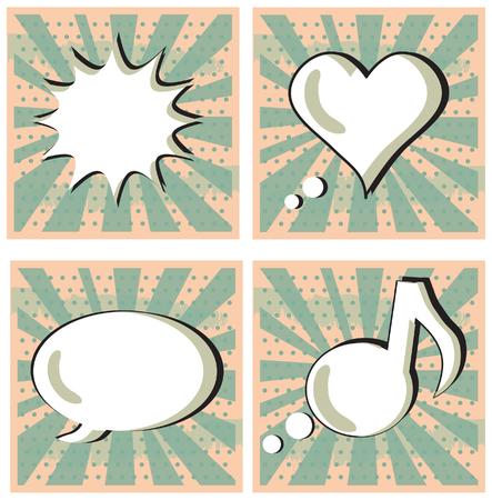lichtenstein: Speech Bubble in Pop-Art Style set Boom Heart Talk Music Stock Photo