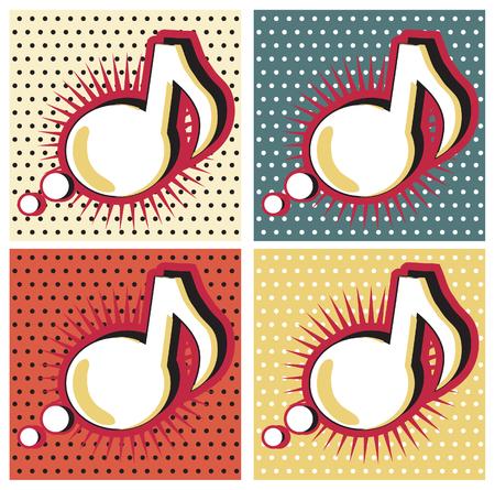 lichtenstein: Speech Bubble Music Note in Pop-Art Style