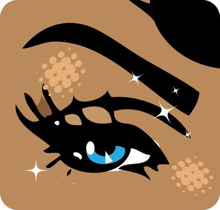 sex appeal: illustration Close-up of woman eye icon emblem symbol background Stock Photo