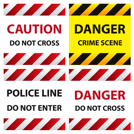 discretion: illustration of police security tapes, yellow with black and red, vector illustration, cards