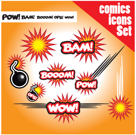 bam: comic book style bombs boom bam wow pow ops  explode